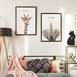 Affiche girafe et éléphant