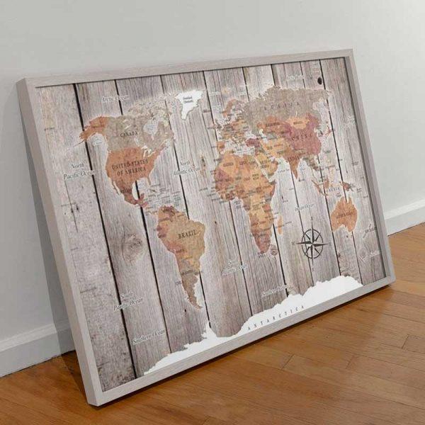 Cadre carte du monde bois
