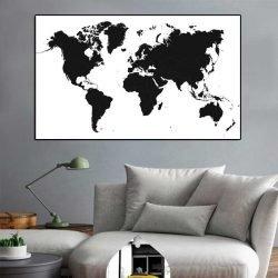 Peinture carte du monde noir et blanc