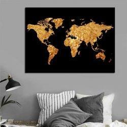 Tableau déco carte du monde noir et or