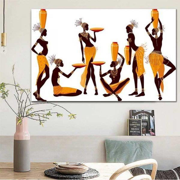 Peinture femmes africaines porteuses d'eau
