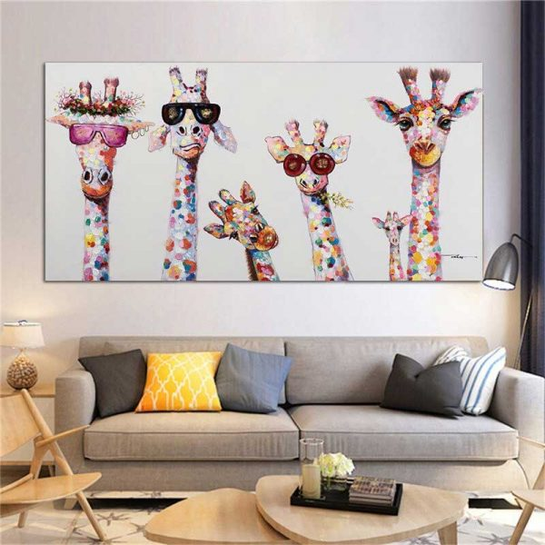 Peinture girafes lunettes