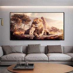 Peinture lion et lionceau