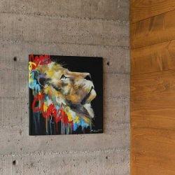 Tableau déco lion graffiti
