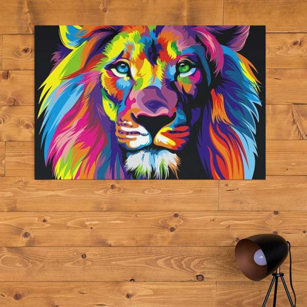 Peinture lion pop art