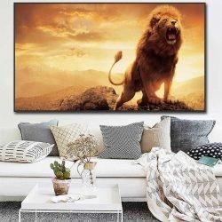 Tableau déco lion rugissant