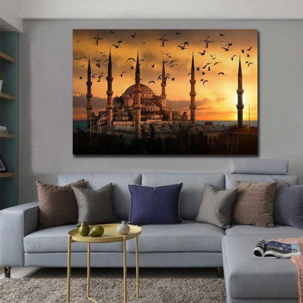 Peinture mosquée bleue