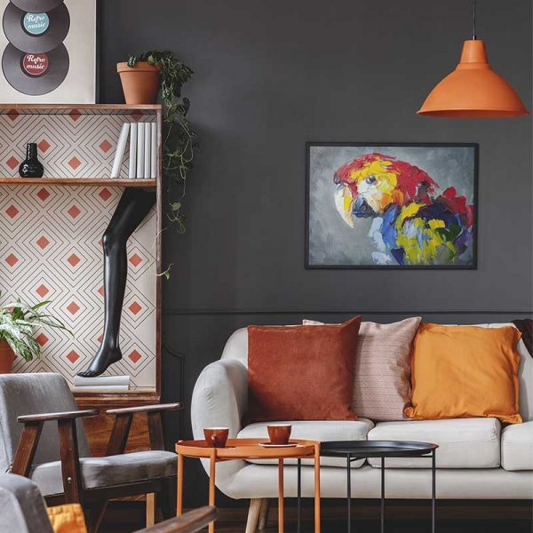 Tableau déco peinture perroquet