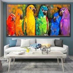 Tableau déco perroquets colorés