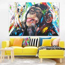 Peinture singe multicolore