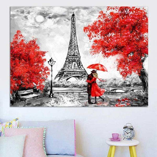 Tableau peinture tour Eiffel