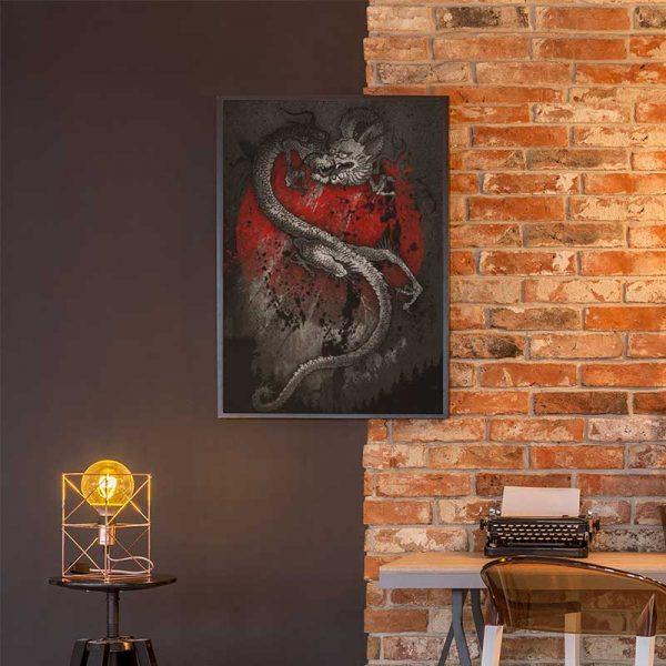 Peinture dragon japonais