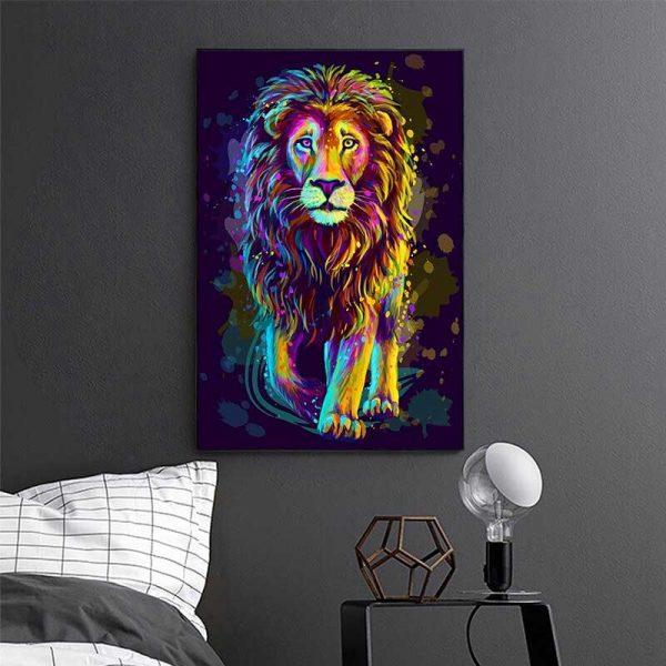 Peinture lion multicolore