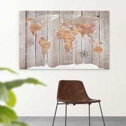Tableau carte du monde bois
