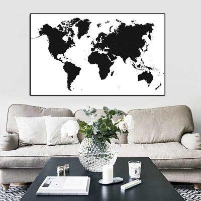 Tableau carte du monde noir et blanc