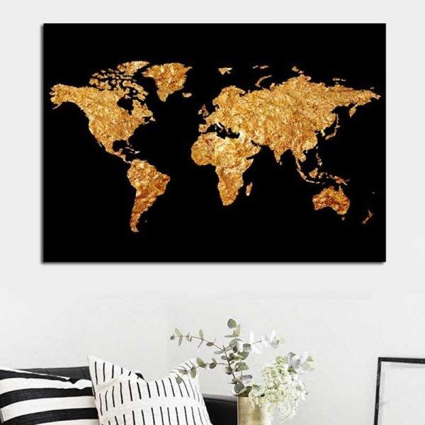 Tableau carte du monde noir et or