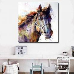 Tableau cheval aquarelle
