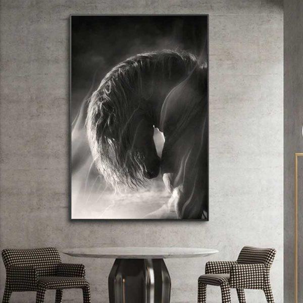tableau cheval noir et blanc salon