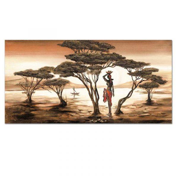 Tableau crepuscule africain