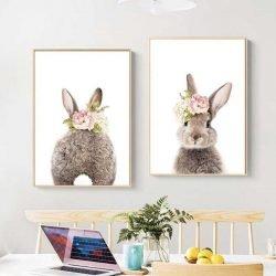 Tableau deux lapins scandinave