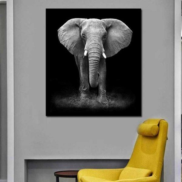 Tableau éléphant noir et blanc