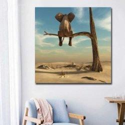 Tableau éléphant sur une branche