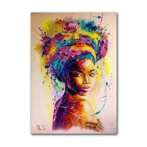 Toile fille africaine multicolore