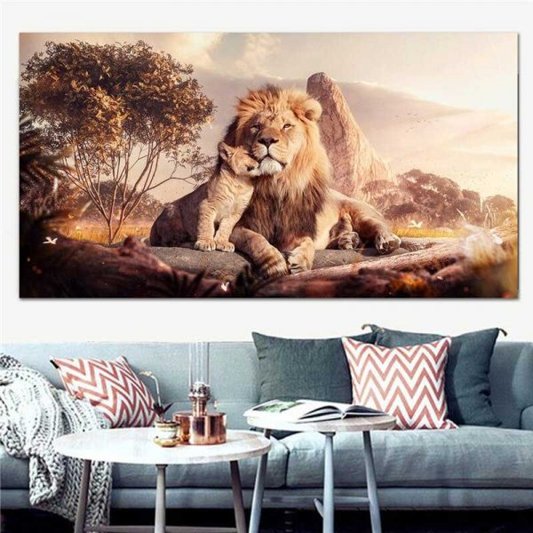Tableau lion et lionceau