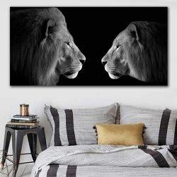 Tableau lion et lionne noir et blanc