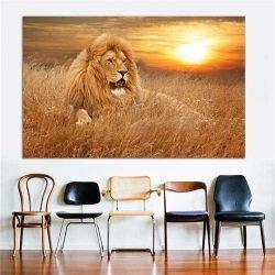 Tableau lion savane