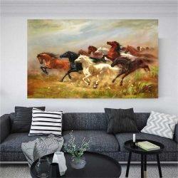 Tableau peinture chevaux sauvages