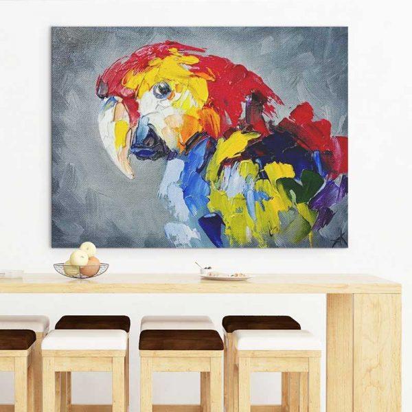 Tableau peinture perroquet