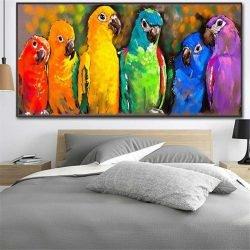 Tableau perroquets colorés