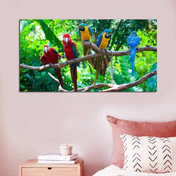 Tableau perroquets jungle