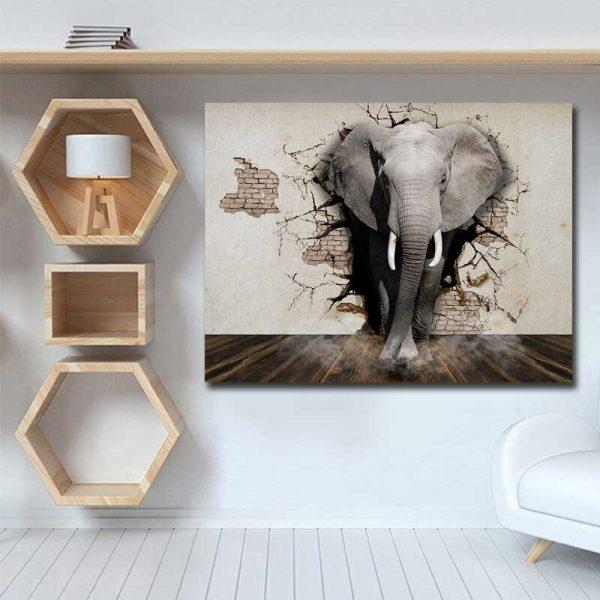 Tableau déco éléphant 3D