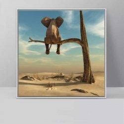 Tableau déco éléphant sur une branche