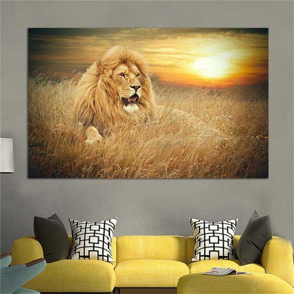 Tableau déco lion dans la savane