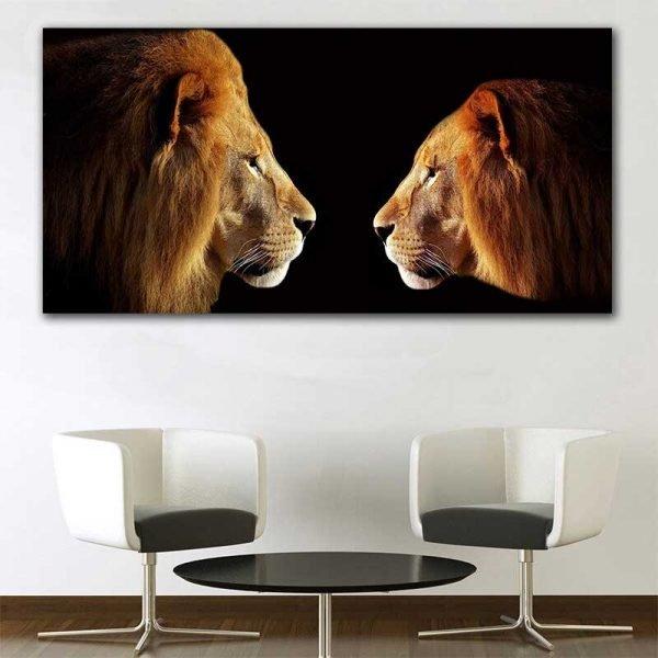 Tableau déco lion et lionne
