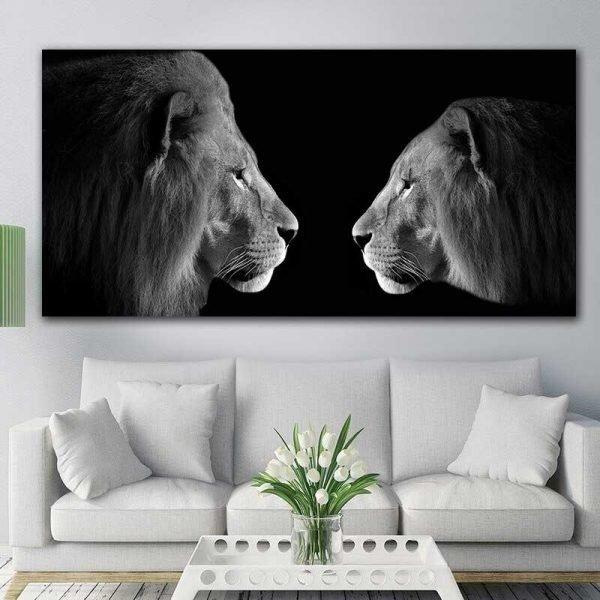 Tableau photo lion et lionne noir et blanc