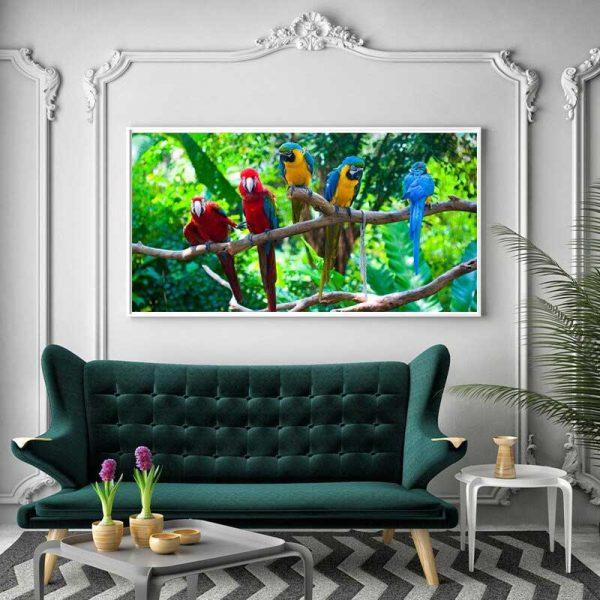 Tableau déco perroquet jungle