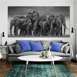 Tableau déco troupeau éléphants