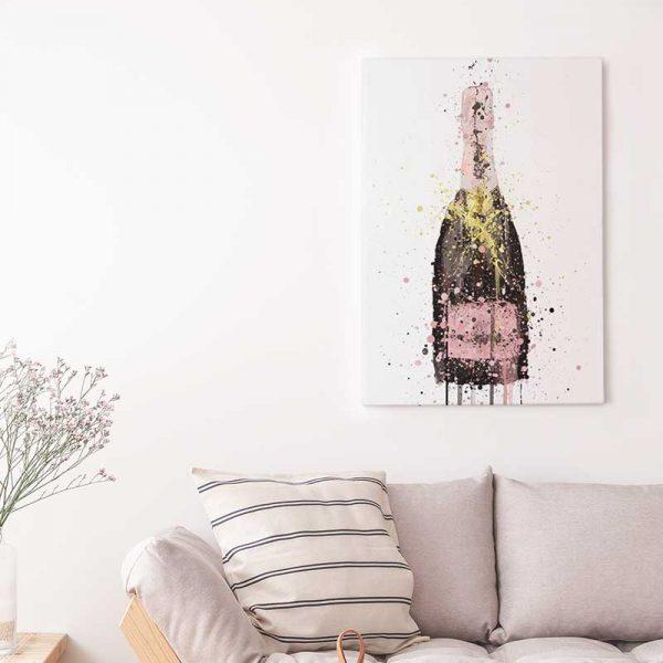 Tableau scandinave bouteille de champagne