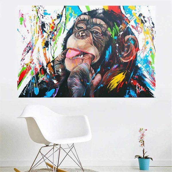 Tableau singe multicolore