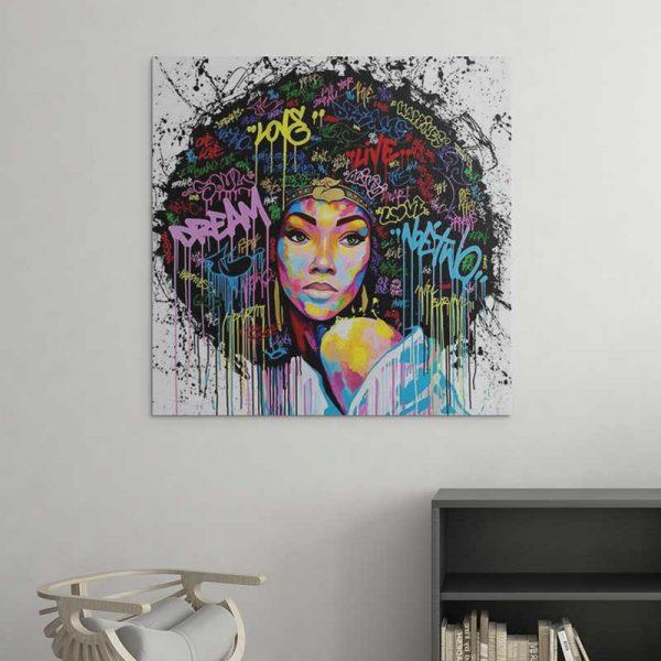 Tableau street art femme africaine