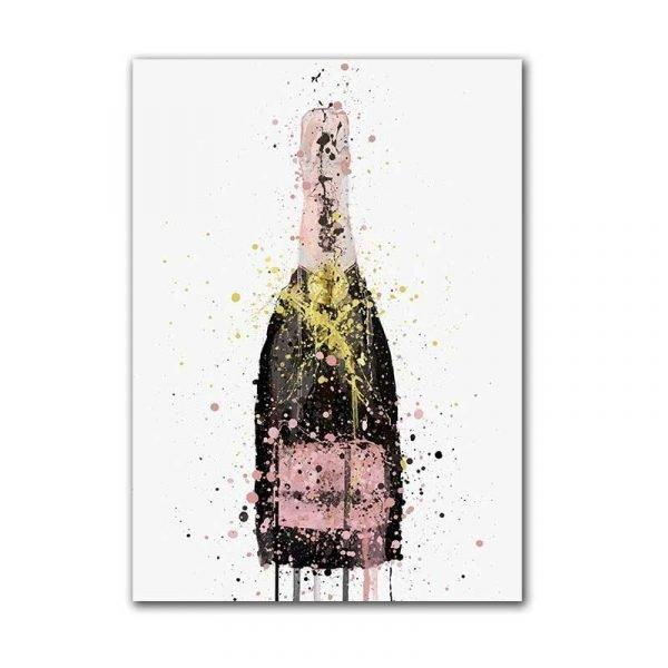 Tableau sur toile bouteille de champagne