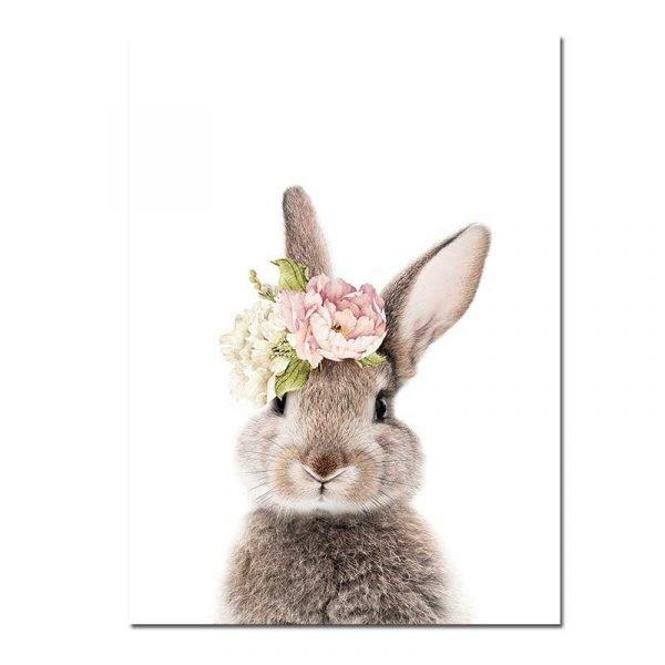 Tableau sur toile scandinave lapin