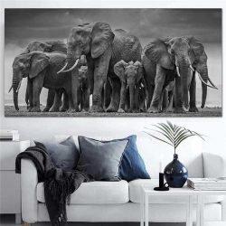 Tableau troupeau elephants