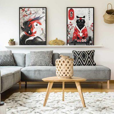 Tableaux carpes et chat japonais