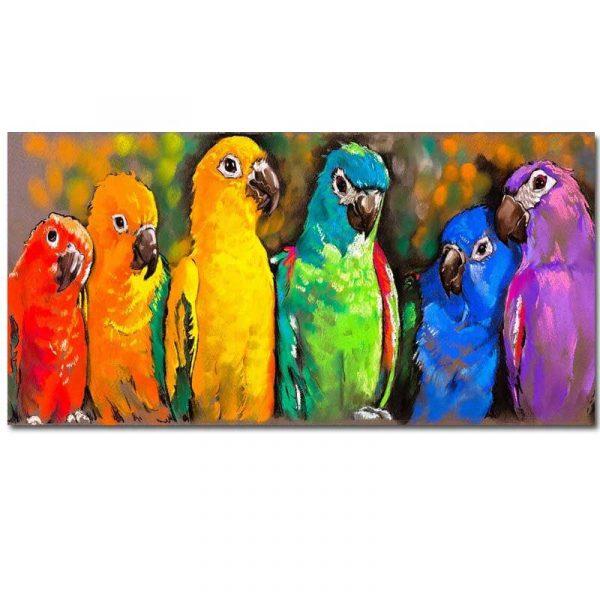 Toile perroquets coloré