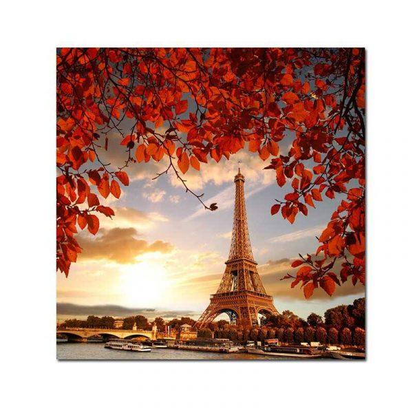 Toile tour Eiffel coucher de soleil